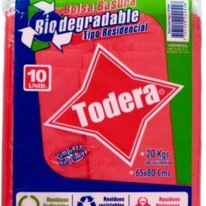 BOLSA BASUR BIODEG ROJA*10  (65x80) (50)